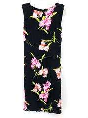 EMMA JAMES Shift Dress Black Pink Iris Floral Print Sleeveless Vtg 90s Y2K Sz 8