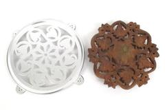 Lot of 2 Trivets Wooden Leaf Pattern Footed Made in India Metal Heart