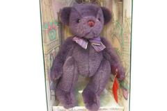 Gund 1996 Christmas Collectible Purple Bear Red Stocking Yulebeary 8896 in Box