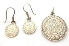 Sterling Silver Aztec Calendar Pierced Dangle Earrings And Pendant MC-177 Mexico