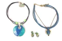 Lot 3 Chico's Jewelry Items 2 Pendant Choker Necklaces 1 Pair Pierced Earrings