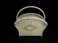 Vintage Wicker Magazine Newspaper Basket Handle White Blue Beaded