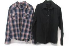Dress Shirt Lot Mens ProjekRaw Plaid Snap Button John Henry Black Button Front M