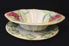Set of 2 Ceramic Serving Dishes Fruit Bowl and Plate Grape Leaf Pattern Portugal