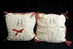 Vintage Handmade Pillow Set Beige Rust Orange Cat Decor Embroidered Ties