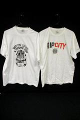Lot of 2 Men's White T-Shirts Sz XL Fruit Of The Loom Rip City Blazers Pine Logg