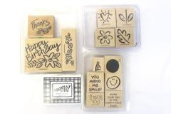 Lot of 14 Stampin Up Stamps Ink Pad Wooden Happy Birthday Thanks Smile Flowers