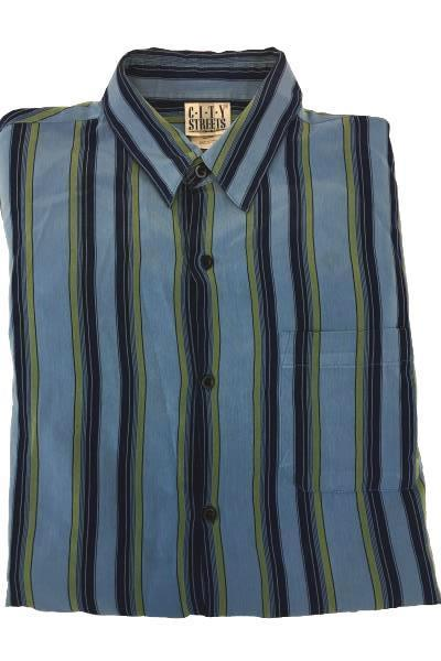 C.I.T.Y Streets Men's Blue Striped Button Up Size Large/Grand