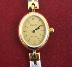 Chandler Two Tone Bracelet Watch - Oval Face, Gold Overlay/Brushed Rhodium Band
