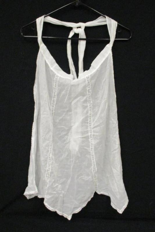 Lot of 2 Vintage Handmade Half Aprons White Tie Waist Lace Trim Semi Sheer