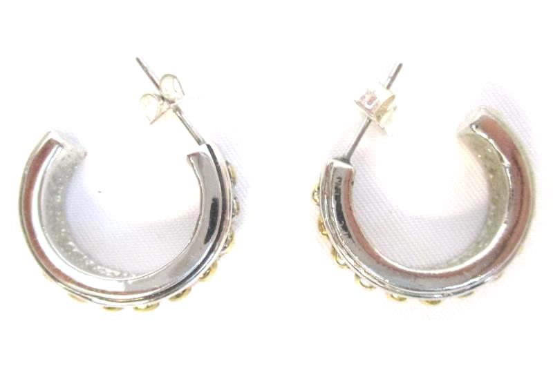 Lot of 4 Pairs Pierced Earrings Silver Tone Hoops C Shaped With Backs