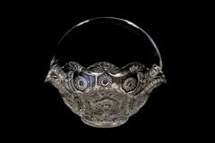 Vintage Glass Basket Horseshoe Medallion Pineapple Pattern Clear Handle