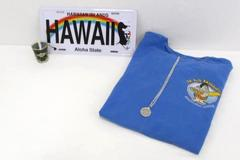 Hawaiian Lot Souvenir Shirt Quarter Necklace Licence Plate Shot Glass