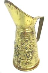 Vintage Brass Pitcher Pub Street Scene England Embossed 8 in Tall Decor