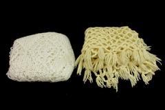 Lot of 2 Handmade Crochet White Beige Shawls Scarfs