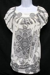 Siren Lily White Gray Print Short Sleeve Top Blouse Maternity Women's L
