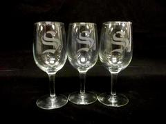 """Lot of 3 Wine Glasses Clear With S Logo With Stem 6"""" Tall Dinner Party Friends"""