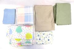 Lot of 4 Flat Sheets 2 Pillow Cases For Fabric DIY Cutting Mask Making Crafting