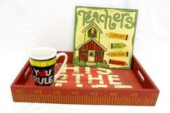 Lot of 3 Teacher Gifts Coffee Mug Cup Wall Hanging Wooden Desk Basket Ruler