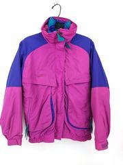 COLUMBIA Powder Keg Jacket 3-in-1 Coat Pink Green Purple Vtg 80s 90s Women Small