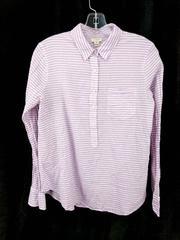 J CREW Popover Top Crinkled Cotton White Purple Stripe Seersucker Women's Size M