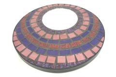Mosaic Circle Pink Purple Hanging Wall Mirror Stones Decor Art 11.5in Diameter