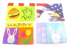Lot of 4 Yard Flags Bunny Easter Bald Eagle American Flag BBQ Time
