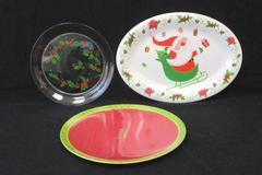 Lot Of 3 Plastic Decorative Christmas Serving Plates Evergreen Melamine
