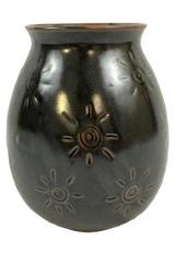 Unique Brown POTTERY VASE Sun Design Signed Made in Thailand