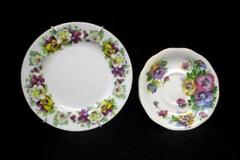 Lot of 2 Fine Bone China Crown Staffordshire Salad Plate & Queen Anne Saucer