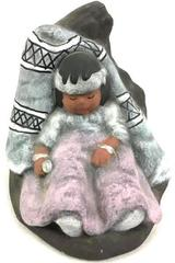 Native American Child Napping Figurine Signed Luz Bruno Handcraft Hand painted