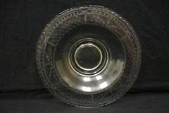 Clear Wide Rimmed Pasta Serving Bowl Etched Wheat Pattern Round
