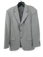 OSCAR DE LA RENTA Blazer Suit Jacket Steel Blue Houndstooth Plaid 100% Wool 42R
