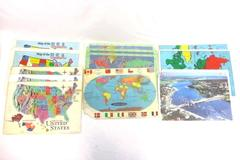 Lot of 12 Map Place Mats For Craft DIY Upcycle Mountain High Maps 1993