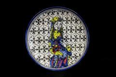 Vintage Handmade Plate Middle Eastern Painted Woman Black Filigree 12.25 in