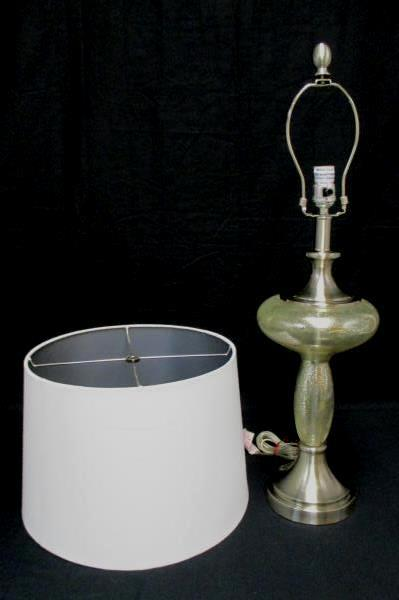 """30"""" Table Lamp Burnout Glass Pattern Silver Chrome With White Cylinder Shade"""
