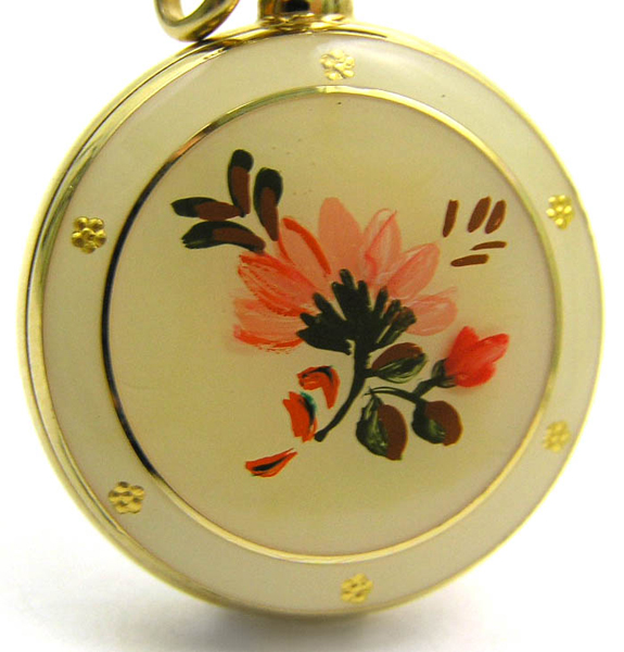 CHANDLER Swiss PENDANT WATCH w Handpainted Flowers