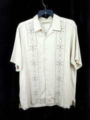 TOMMY BAHAMA Button Up Shirt Hawaiian 100% Silk Ivory Embroidered Men's Large