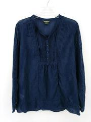 EDDIE BAUER 100% Cotton Shirt Navy Pleated Tunic Top Sheer Striped Women's Large