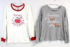 Lot of 2 Girl's Tops Size 7-8 Long Sleeve Gymboree Gray White Graphic Design
