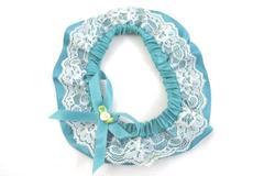 Handmade Wedding Garter Teal Satin White Lace Elastic Band Bow Flower