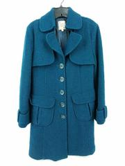 NANETTE LEPORE Blue Boiled Wool Jacket Trench Style Winter Coat Women's Large