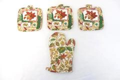 Lot of 3 Franco Fall Oven Mitt Pot Holders Leaves Nuts Cranberries Kitchen Decor
