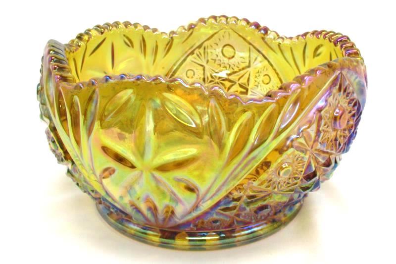 Vintage Amber Carnival Glass Bowl Unknown Pattern or Maker