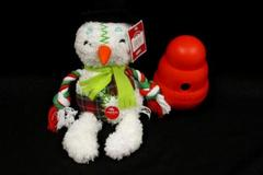 Lot of 2 Dog Toys Red Kong 6in Wobbler plus Holiday Time Snowman Level 2 Chewer