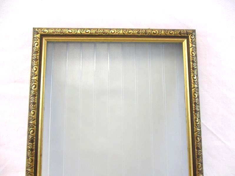 Vintage Gold Embossed Wood Picture Frame With Ribbed Glass