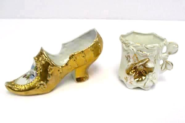 Vintage German Porcelain Geburtstag Birthday Shoe & Cup White Gold Tone Detail