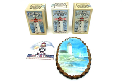 Lot of Nautical Lighthouse Themed Items Wood Tea Boxes Plaque Magnetic Card