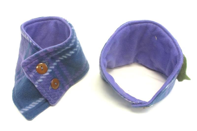 Headband and Neck Warmer Fleece Girl's Ear Warming Purple Flower Green Leaf