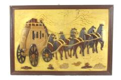 "Vintage 3D Wooden Wall Art Pioneer Horses Covered Wagon Burnt Wood 25"" x 17"""